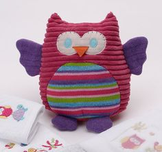 Jiggle and Giggle Baby Birdie and Friends Knitted Owl Toy Pink
