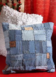 Buy Truhome Fashionista Denim Patchwork Cushion Cover Online India, Best Prices, Reviews   TR330HO11TZKINDFAS