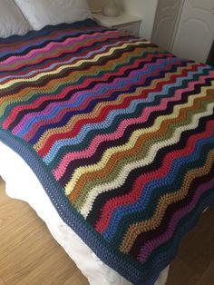 72x65inches £70 Zig Zag Crochet, Crochet Ripple, Double Knitting, Knitting Yarn, Knitting Projects, Chevron, Waves, Blanket, Handmade