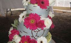 """cute! birch tree looking wedding cake with bride and groom's initials """"carved"""" inside a heart! cake by: Cake by Alissa in Schuylerville NY"""