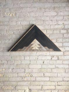 "Reclaimed Wood Wall Art, Decor, Lath, Pattern, Triangle, Mountain, Black, Landscape, 33"" x 17"" by EleventyOneStudio on Etsy https://www.etsy.com/listing/249566871/reclaimed-wood-wall-art-decor-lath"