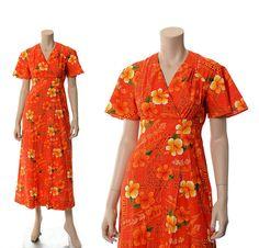 Vintage 60s Royal Hawaiian Floral Maxi Dress 1960s Groovy Flower Power Empire Wrap Dress Luau Wedding Boho Hippie Dress / X-small / Small