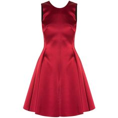 Emporio Armani Satin Bow Back Dress ($768) ❤ liked on Polyvore featuring dresses, vestidos, short dresses, red, red dress, emporio armani, red cocktail dress and short red cocktail dress