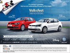 View Volkswagen Its Mickeys Birthday And We Are Celebrating 90 Years Of Birthday Ad newspaper. This Ad is collection of Sample Ad at Advert Gallery. Ad Design, Graphic Design, Car Banner, Mickey Birthday, Car Advertising, Driving Test, Banner Design, Volkswagen, Promotion