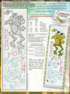 "Read for Fun ""Frog"" Bookmark . Cross Stitch Bookmarks, Cross Stitch Books, Just Cross Stitch, Cross Stitch Cards, Cross Stitch Borders, Cross Stitch Animals, Counted Cross Stitch Patterns, Cross Stitch Designs, Cross Stitching"