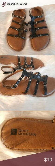f0a57a3f8935e White Mountain Black Snake Skin Sandals White Mountain Black Snake Skin Sandals  See Measurement for Size