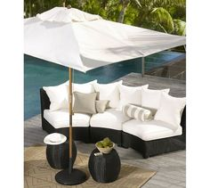 Build Your Own - Palmetto All-Weather Wicker Rounded Sectional Components - Black   Pottery Barn