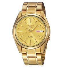 [Seiko] Dual Date Business 5 Automatic Mens Analog Gold Band Accs Watch SNKL48J1 #Seiko #Business