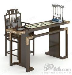 书房 桌椅组合 中式风格 3d模型  (188708)