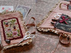 "I ❤ embroidery . . . THE SEAMSTRESS- In tones Roses as ""For The Love Of Yarn"" ... Needle Book ~By facilececile"