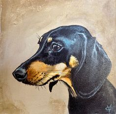 Excited to share the latest addition to my shop: Dachshund painting, dachshund lover artwork, sausage dog portrait on canvas by Victoria Coleman Dapple Dachshund Puppy, Dachshund Puppies For Sale, Arte Dachshund, Wire Haired Dachshund, Dachshund Love, Daschund, Black And Tan Dachshund, Animal Sculptures, Dog Portraits