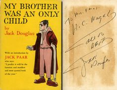 """JACK DOUGLAS Hand Signed 1st Edition: """"My Brother Was An Only Child"""" in Collectibles, Autographs, Television 