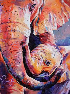 "Love this print of two beautiful elephants! 2 different sizes available. Perfect print to hang in your home! Art Print on Canvas ""Elephant Hug"" by ArtByCaitlinSolan, Colorful Elephant Art"