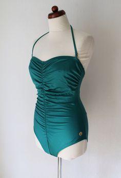 Vintage Swimsuit  Emerald Swimsuit  1970s von PaperdollVintageShop, €24.90