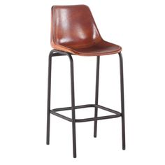 Brown Leather Bar Chair with Black Metal Legs - 18908729 - Overstock.com Shopping - Great Deals on Y-Decor Bar Stools