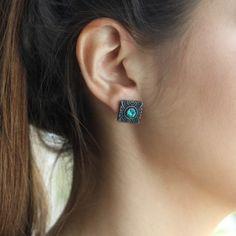 Brinco Quadrado Blue - Superfluous - Moda & Design Shop.