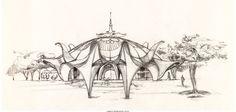 "Walt Peregoy - Epcot ""Heath Pavilion Restaurant"" Concept Art (Walt Disney, 1978)."