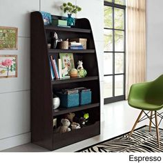Keep a child's room neat and tidy with the help of this versatile bookcase. In a dark espresso or white finish, the bookcase features four open shelves plus a semi-enclosed compartment on  the bottom to hold toys, games, sports equipment, books and more.