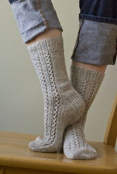 Ravelry: Divinity Socks pattern by Virginia Sattler-ReimerInspired by the wacky candy in my mom's era cookbook, these hiking socks are sure to keep you comfy and warm. Lace Socks, Crochet Socks, Wool Socks, My Socks, Knit Or Crochet, Knitting Socks, Hand Knitting, Knitted Hats, Hiking Socks