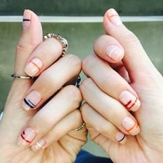 One stripe, two stripes, you decide! | 28 Nail Art Ideas That Will Inspire You To Rethink Your Next Manicure