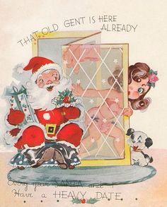 FUN little vintage Christmas card cute woman behind screen, Santa waiting