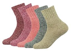 Womens Warm Vintage Style Thick Knit Wool Casual Crew Socks 5 Pairs Multi Color ** Want to know more, click on the image. (This is an affiliate link) #WomensAutomnFashionClothing