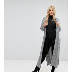 Missguided Plus Longline Check Duster Jacket ($87) ❤ liked on Polyvore featuring outerwear, jackets, grey, grey duster jacket, checked jacket, long line jacket, duster jacket and plus size jackets