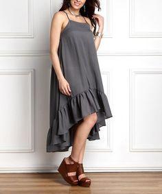 Charcoal Chiffon Ruffle-Hem Hi-Low Midi Dress - Plus #zulily #zulilyfinds