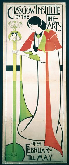 Poster for 'The Glasgow Institute of the Fine Arts,' 1894-1896. Charles Rennie Mackintosh and the other members of the Group of Four, experimented with poster design in the mid-1890s, producing strikingly progressive designs.