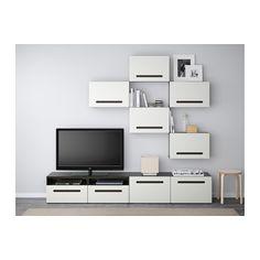 BESTÅ Combinaison meuble TV - brun noir/Marviken blanc, glissière tiroir, fermeture silence - IKEA