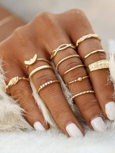 To find out about the Gold Plated Embellished Ring Set at SHEIN, part of our latest Rings ready to shop online today! Punk Jewelry, Jewelry Gifts, Silver Jewelry, Coral Jewelry, Leather Jewelry, Jewelry Art, 925 Silver, Diamond Jewelry, Silver Earrings