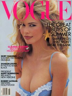 Claudia Schiffer Vogue Cover USA May 1995SupermodelBlue BikiniCleaveage Decolletage