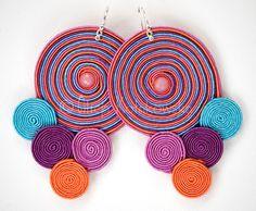 soutache earrings - memory of summer by Alicja Kolakowska Soutache Earrings, Diy Earrings, Leather Earrings, Leather Jewelry, Earrings Handmade, Handmade Jewelry, Paper Bead Jewelry, Fabric Jewelry, Paper Beads