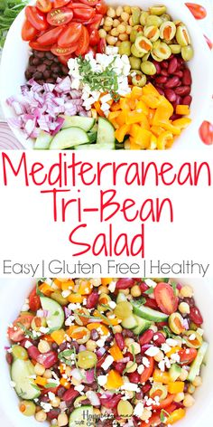 This easy Mediterranean Tri-Bean Salad has all the right flavors! Canned beans combine with fresh veggies to produce a hearty side-dish or vegetarian meal. Beans Vegetable, Vegetable Salad, Gluten Free Recipes, Low Carb Recipes, Healthy Recipes, Healthy Tips, Easy Recipes, Vegetarian Main Dishes, Vegetarian Recipes