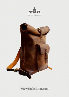 Tộc | Leather: Leather Roll Top Backpack / Rucksack (Light Brown) - Vintage Retro Looking
