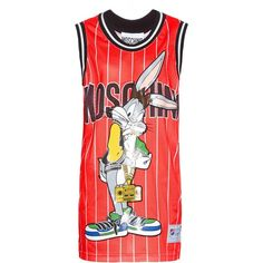 Moschino Bugs Bunny-Basketball mini dress (€785) ❤ liked on Polyvore featuring dresses, red, cartoon dress, stripe dress, moschino dresses, mesh mini dress and red stripe dress