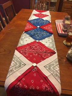 Patriotic table runner made with bandanas 4th July Crafts, Fourth Of July Decor, 4th Of July Celebration, 4th Of July Decorations, 4th Of July Party, July 4th, Bandana Crafts, Crafts With Bandanas, Bandana Ideas