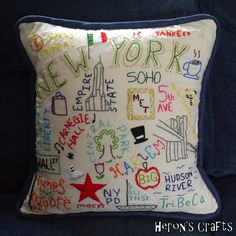 New York Embroidered Cushion