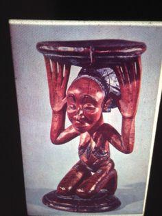 Baluba (Luba) Caryatid Stool: African Congo Bantu Tribal Art 35mm Glass Slide