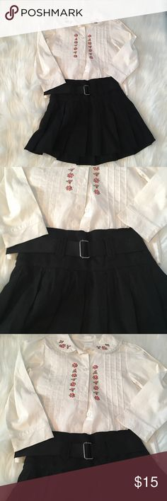 Wonder kids outfit This is like new ! No holes no stains ! Pleated skirt with belt so pretty! Shirt with lace around collar and flowers on collar and down the front! wonderkids Other