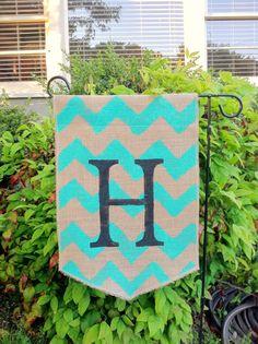 Burlap Garden Flag Teal/Turquoise Chevron Pattern