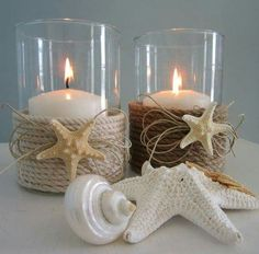 *Main Bathroom -Nautical theme* *Pretty* Nautical Decor Candle Holder w Nautical Rope diy. minus the little frilly thinks under the star fish Seashell Projects, Seashell Crafts, Beach Crafts, Diy And Crafts, Deco Marine, Craft Projects, Projects To Try, Project Ideas, Nautical Bedroom