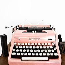 pink old typewriter, cute
