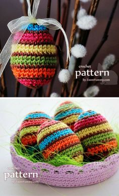 New Crochet Pattern – Striped Easter Eggs In A Bowl