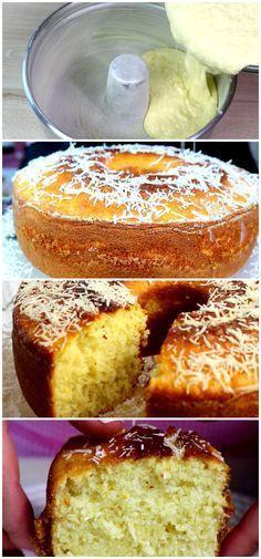 Receita de Bolo de coco, super fofinho, lembra muito os bolos de nossas avós!! #bolo #doces #sobremesas #receita #gastronomia #culinaria #comida #delicia #receitafacil