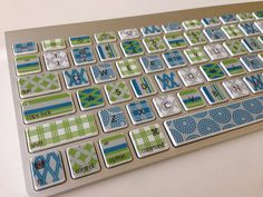 HOLY COW!  the cuteness!  Blue, Green, and Gray Designer Washi Tape-Inspired iMac, MacBook Pro, and MacBook Air Keyboard Protective Skin