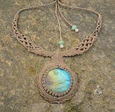 Huge labradorite macrame necklace by kiwawa on Etsy - love the necklace part