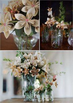 handmade wedding flowers / http://www.himisspuff.com/origami-wedding-ideas/4/