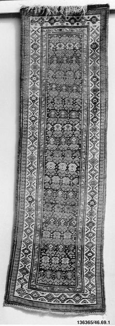 Caucasian Rugs & Carpets in the Metropolitan Museum of Art, New York caucasian rug  Date: 1800–1900 Geography: Caucasus Culture: Caucasian Medium: Wool Dimensions: 117 x 38 in. (297.2 x 96.5 cm) Classification: Textiles Credit Line: Bequest of Annie Kalish, 1946 Accession Number: 46.69.1