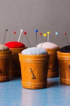 Cute & simple small pincushion. #BeyondMeasure #sewing #pincushion #minimalist Pincushions, Planter Pots, Minimalist, Canning, Sewing, Simple, Wood, Fabric, Pink